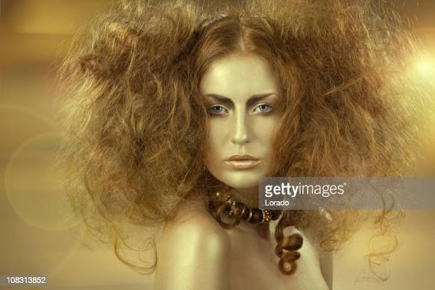 golden woman with backcombing - backcombed stock photos and pictures