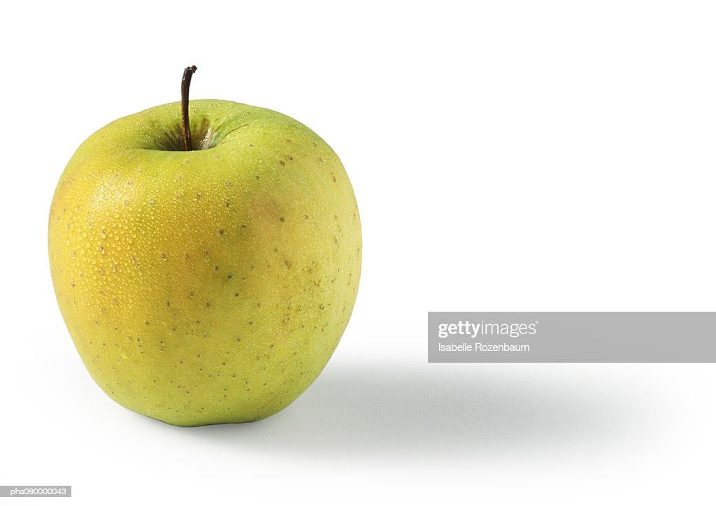 Golden yellow apple, white background : Stockfoto
