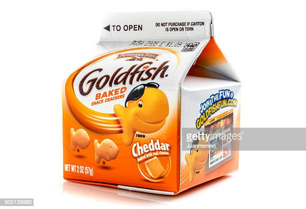 goldfish baked snack crackers - cracker snack stock photos and pictures
