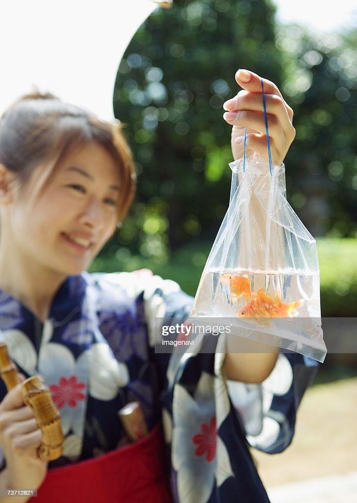 Goldfish of street fair : Stock Photo