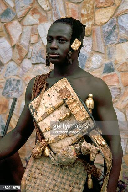 Gold-handled daggers in the war harness of an Ashanti warrior of the royal court of Otumfuo Osei Tutu II, the king of the Ashanti people in south...