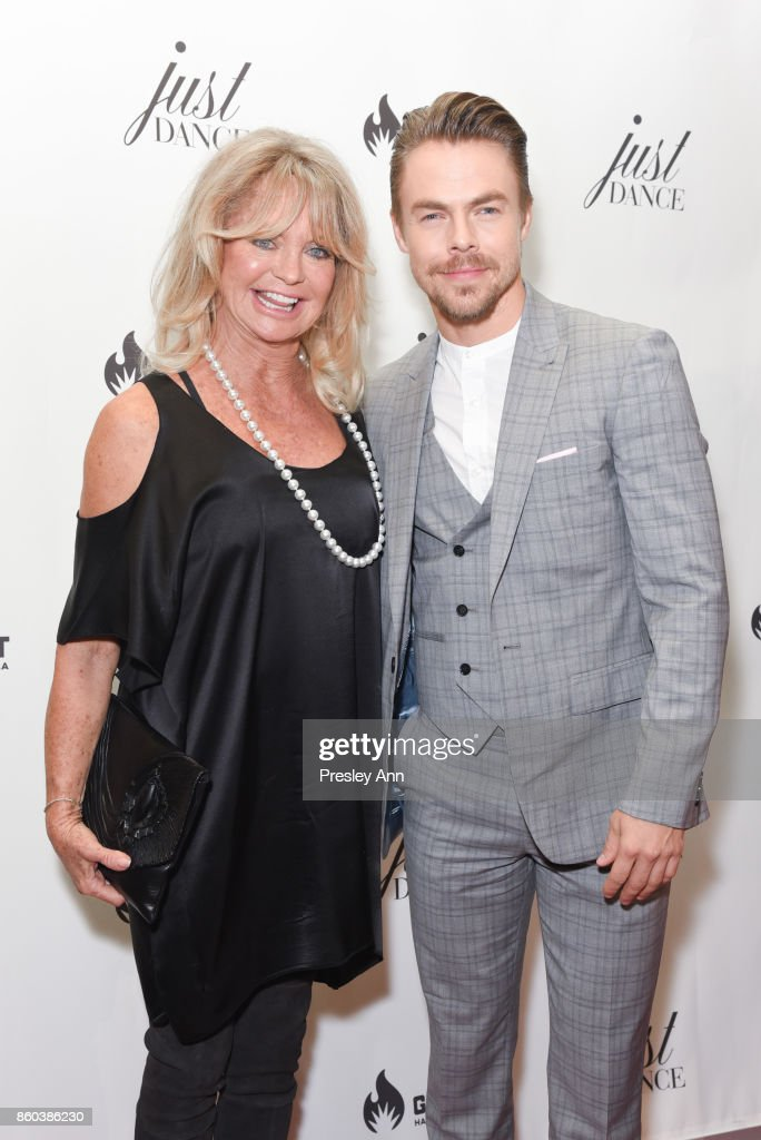 Goldie Hawn and Derek Hough attend grand opening event for JustDance LA at Just Dance Los Angeles on October 11, 2017 in Studio City, California.