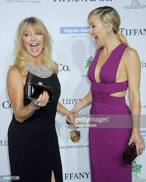 Goldie Hawn and Kate Hudson arrive at the 2014 Baby2Baby Gala presented by Tiffany Co honoring Kate Hudson at The Book Bindery on November 8 2014 in...