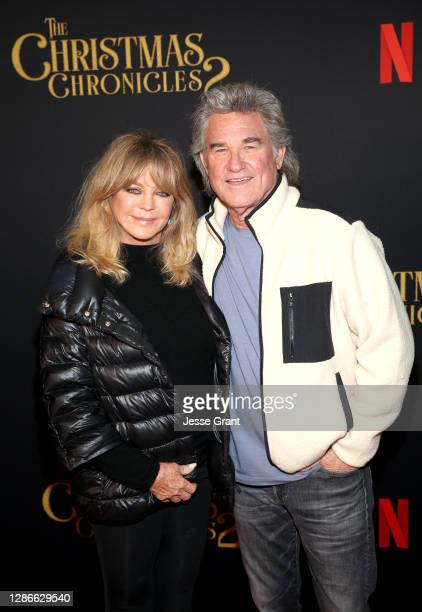 "Goldie Hawn and Kurt Russell attend Netflix's ""The Christmas Chronicles: Part Two"" Drive-In Event at The Grove on November 19, 2020 in Los Angeles,..."