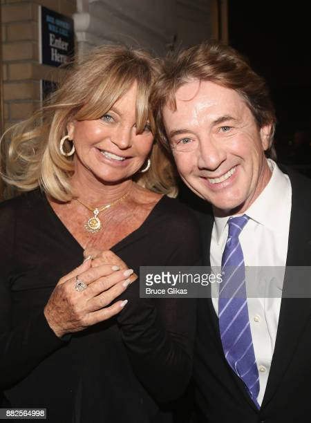 Goldie Hawn and Martin Short pose at The Opening Night of Steve Martin's new play Meteor Shower on Broadway at The Booth Theatre on November 29 2017...