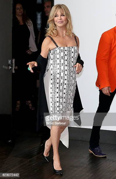 Goldie Hawn arrives during a press conference to launch her MindUP program on November 14 2016 in Melbourne Australia