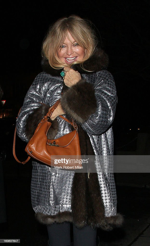 Goldie Hawn at C London restaurant on March 13, 2013 in London, England.