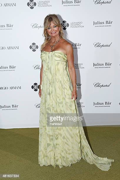 Goldie Hawn attends a cocktail reception during The Leonardo DiCaprio Foundation 2nd Annual SaintTropez Gala at Domaine Bertaud Belieu on July 22...