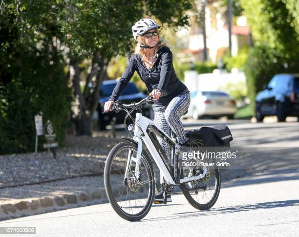 Goldie Hawn is seen riding an electric bicycle on December 15 2018 in Los Angeles California