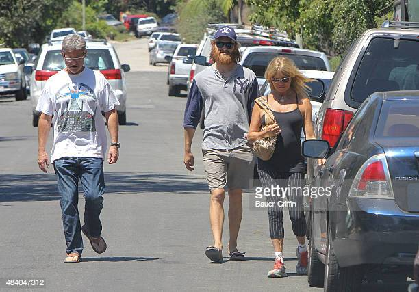 Goldie Hawn, Kurt Russell and his son Wyatt Russell are seen on August 14, 2015 in Los Angeles, California.