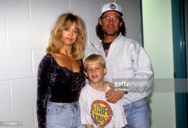Goldie Hawn, Kurt Russell and Wyatt Russell appear backstage during a game between the Los Angeles Kings vs the St. Louis Blues at the LA Forum on...