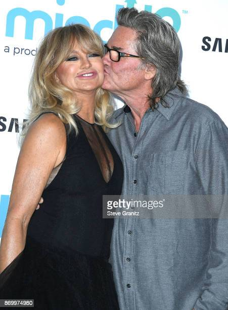 Goldie Hawn, Kurt Russell arrives at the Goldie's Love In For Kids at Ron Burkle's Green Acres Estate on November 3, 2017 in Beverly Hills,...