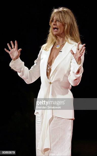 Goldie Hawn speaks about her life during the Capital Distinguished Speakers Series at the Kennedy Center May 24 2004 in Washington DC The event was...