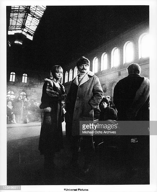 Goldie Hawn stands with Hal Holbrook in a station in a scene from the film 'The Girl From Petrovka' 1974