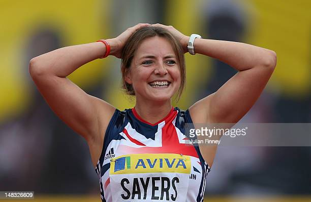 Goldie Sayers of Great Britain celebrates throwing a new British Javerlin record during day two of the Aviva London Grand Prix at Crystal Palace on...