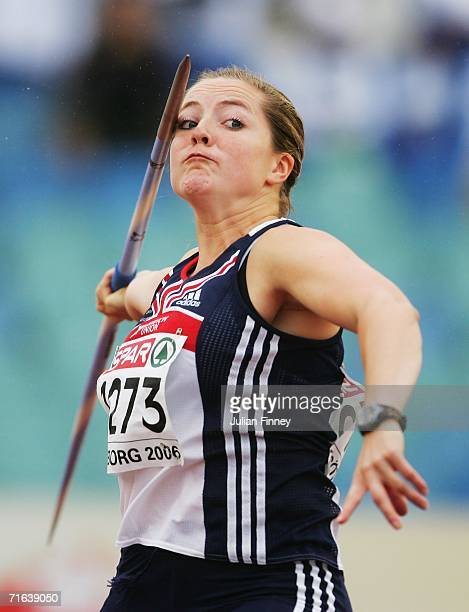 Goldie Sayers of Great Britain competes during the Women's Javelin throw Final on day seven of the 19th European Athletics Championships at the...