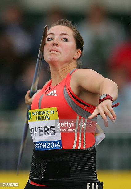 Goldie Sayers of Great Britain in action in the javelin during the Norwich Union Glasgow Grand Prix at the Scotstoun Stadium on June 3 2007 in...