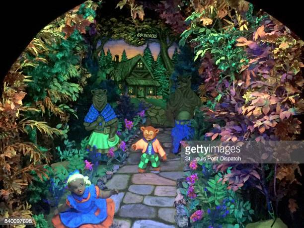 Goldilocks runs away from the three bears inside Fairyland Caverns and Mother Goose Village at Rock City The scenes depicting several Mother Goose...
