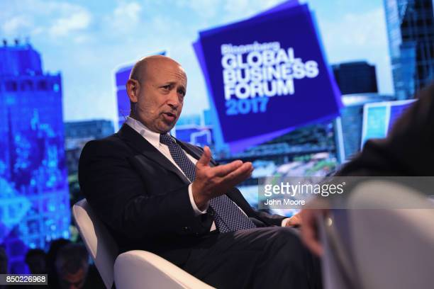Goldman Sachs CEO Lloyd Blankfein speaks at the Bloomberg Global Business Forum on September 20, 2017 in New York City. Heads of state and...