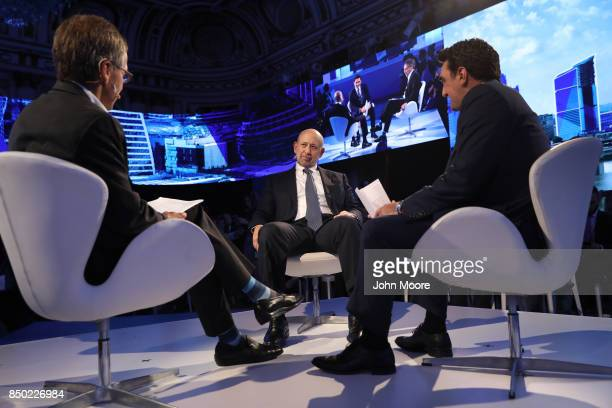 Goldman Sachs CEO Lloyd Blankfein takes part in the Bloomberg Global Business Forum on September 20, 2017 in New York City. At right is Othman...