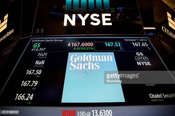 Goldman Sachs Group Inc signage is displayed on a monitor on the floor of the New York Stock Exchange in New York US on Friday Oct 7 2016 US stocks...