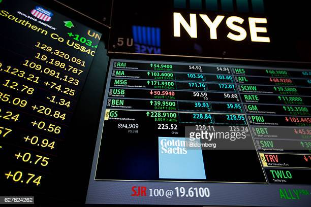 Goldman Sachs Group Inc signage is displayed on a monitor on the floor of the New York Stock Exchange in New York US on Monday Dec 5 2016 US stocks...