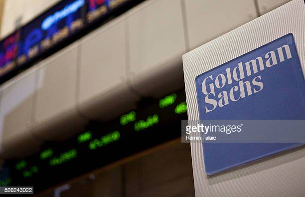 A Goldman Sachs logo is displayed on the floor of the New York Stock Exchange in New York City on Wednesday August 11 2010 The Dow lost over 26542...