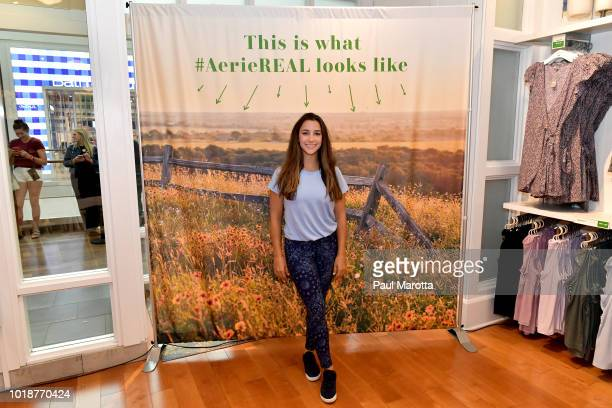 GoldMedalist Aly Raisman speaks at Pin Aerie's Real Talk At Natick Mall on August 18 2018 in Natick Massachusetts