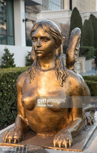 A goldplated statue of a nude goddess greet visitors to Caesars Palace Hotel Casino on March 2 2018 in Las Vegas Nevada Millions of visitors from all...
