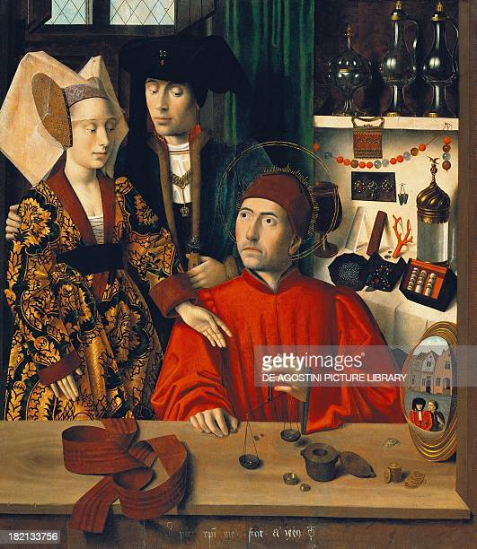 A goldsmith in his shop possibly Saint Eligius by Petrus Christus Germany 15th century New York The Metropolitan Museum Of Art