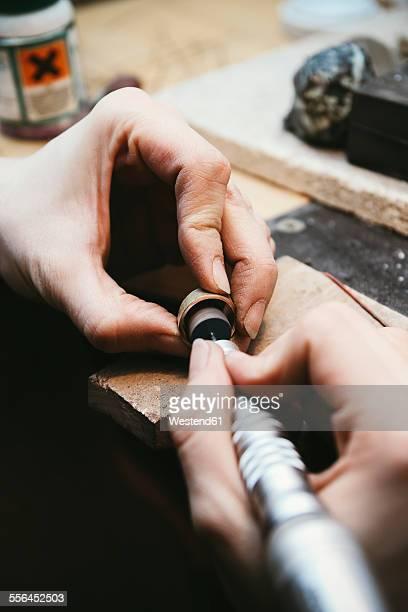 Goldsmith working on wedding rings