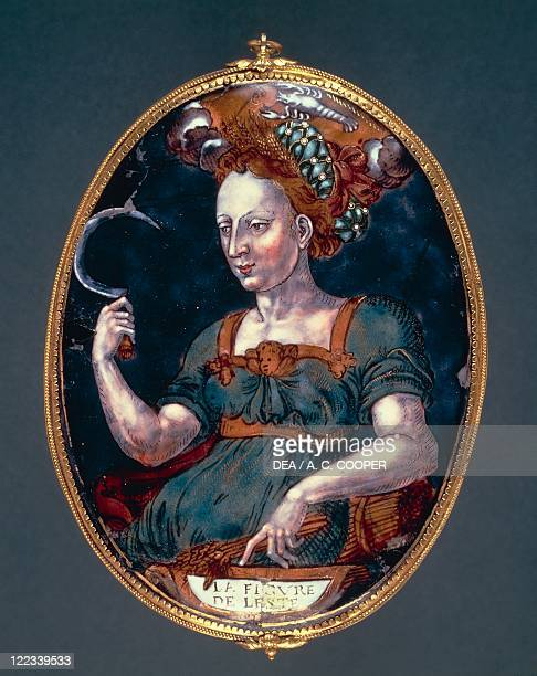 Goldsmith's art France 16th century Limoges enamel oval pendant depicting Summer 15701580 Attributed to Pierre Courteys