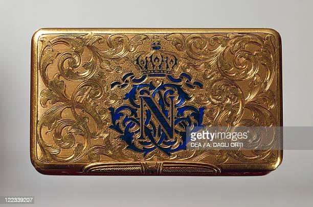 Goldsmith's art France 18th century Gold box with Napoleon III emblem in blue enamel