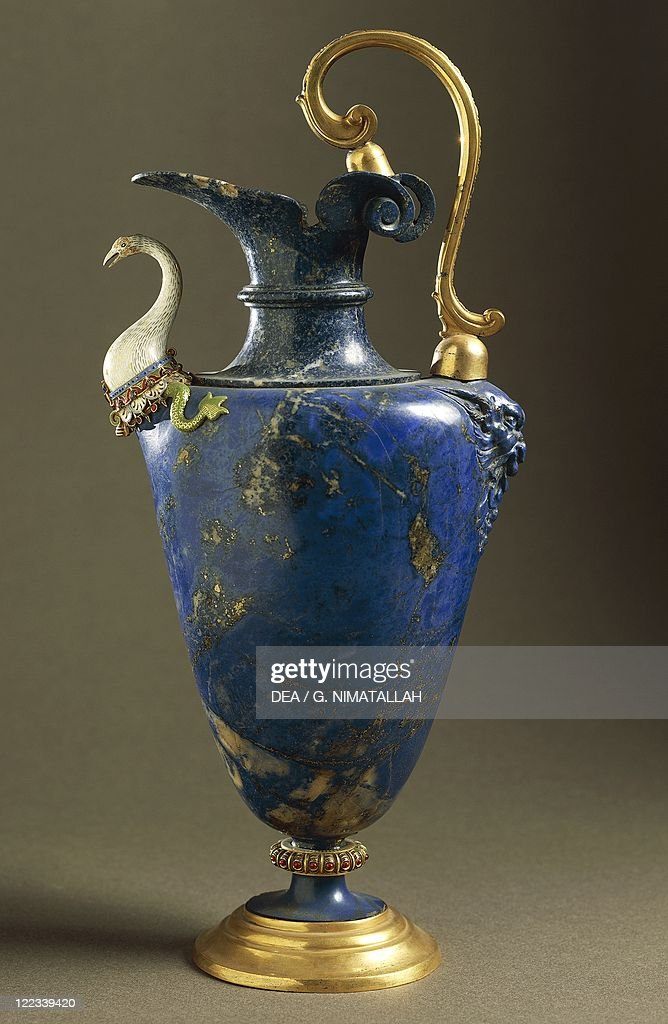 Lapis Lazuli Water Ewer With Enameled Gold And Gilt Bronze By Hans
