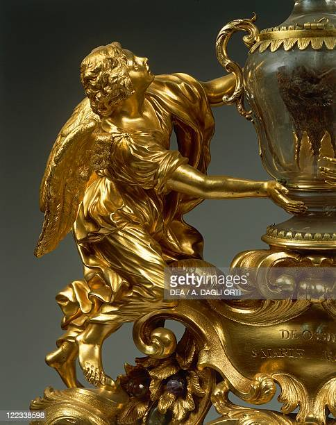 Goldsmith's art Italy 18th century Reliquary of Saint Mary of Egypt in gilded bronze ebony and pietre dure Height cm 68 Detail