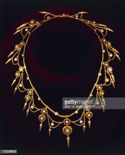 Goldsmith's art Italy 19th century Gold enamel and pearls necklace in archaeological style around 1860