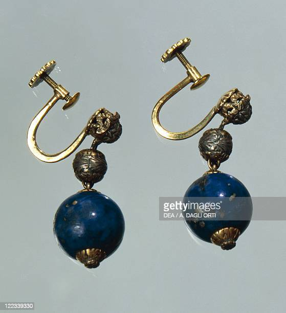 Goldsmith's art Italy 20th century Lapis lazuli earrings with gold and silver elements Part of a parure together with a waist necklace created for...