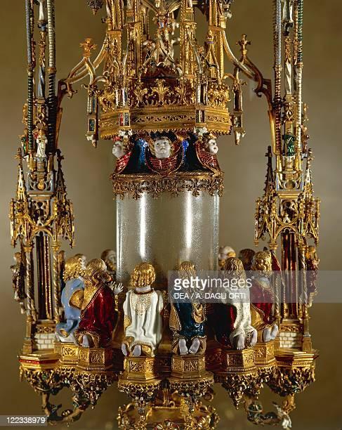 Goldsmith's art Portugal 16th century Gil Vicente Custodia de Belem polychrome enamels and gold monstrance 1506 Detail