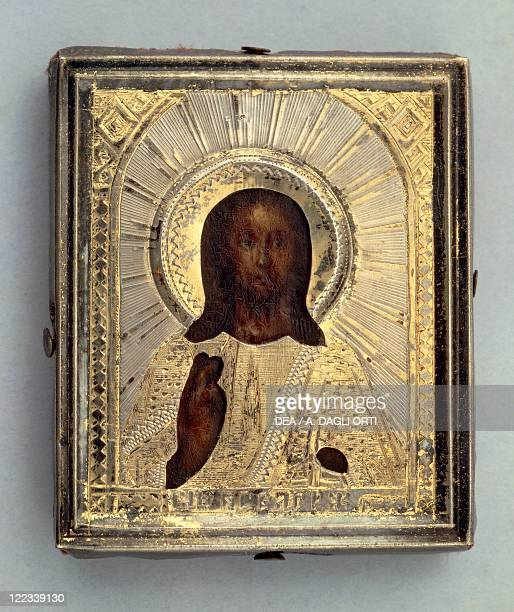 Goldsmith's art Russia 19th century Small travel icon depicting Blessing Christ