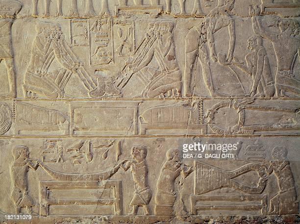 Goldsmiths busy smelting metal painted relief Mastaba of Mereruka Saqqara Egyptian Civilisation Old Kingdom Dynasty VI