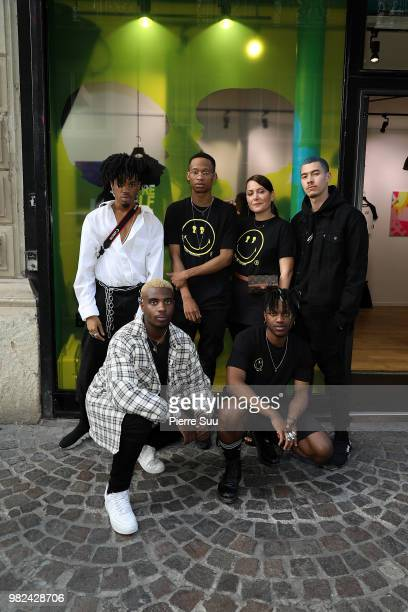 Goldsvn sejin 7even Reymars Atma and Stacy Igel attendsthe Boy Meets Girl Black Label X Smiley Original as part of Paris Fashion Week on June 23 2018...