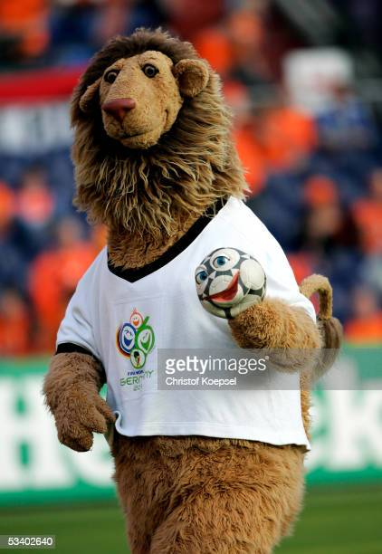 Goleo VI mascot of the FIFA World Cup 2006 is seen during the international friendly match between Netherlands and Germany at the De Kuip Stadium on...