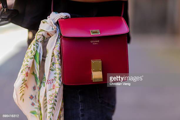 Golestaneh MayerUellner wearing a red shoulder bag from Celine Box Mini silk scarf with floral print from Gucci on August 25 2016 in Cologne Germany