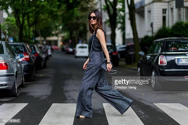 Golestaneh MayerUellner wearing a wide leg pants Marlene tweed pants from Zara with braces black Chanel bag Zara top Chanel slingbacks shoes Celine...