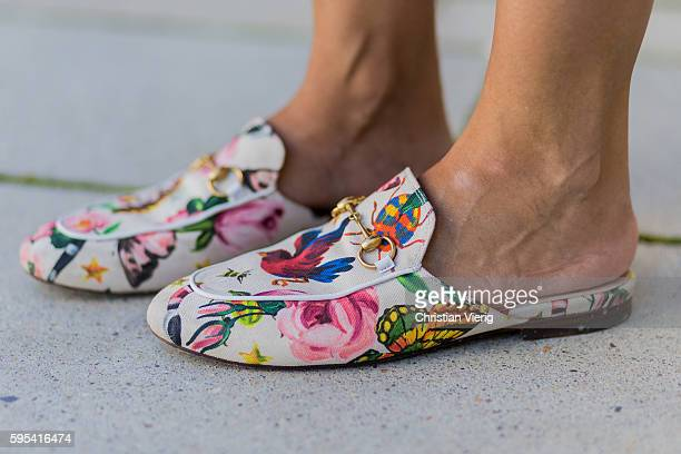 Golestaneh MayerUellner wearing Canvas Princetown slipper with floral print from Gucci Garden on August 2 2016 in Cologne Germany