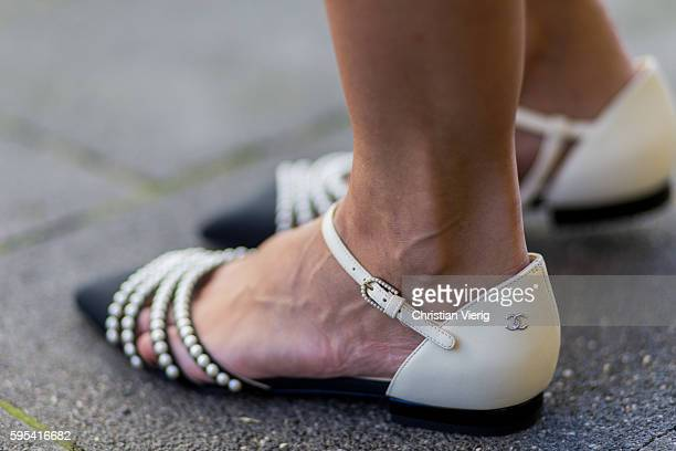 Golestaneh MayerUellner wearing flat sandals with pearls from Chanel on August 25 2016 in Cologne Germany