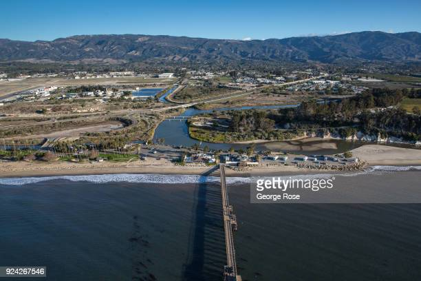 Goleta Beach Pier and Slough are viewed in this aerial photo taken on February 23 in Santa Barbara California A combined series of natural disasters...