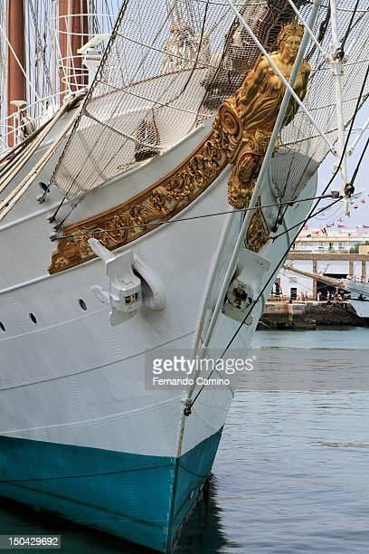 Goleta bow of the Spanish school Juan Sebastian de Elcano Class A of 1927 on July 29 2012 in Cadiz Spain