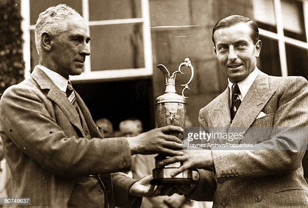 Golf 1937 British Open Golf Championship Carnoustie Scotland A picture of the British champion Henry Cotton as he recieves the trophy