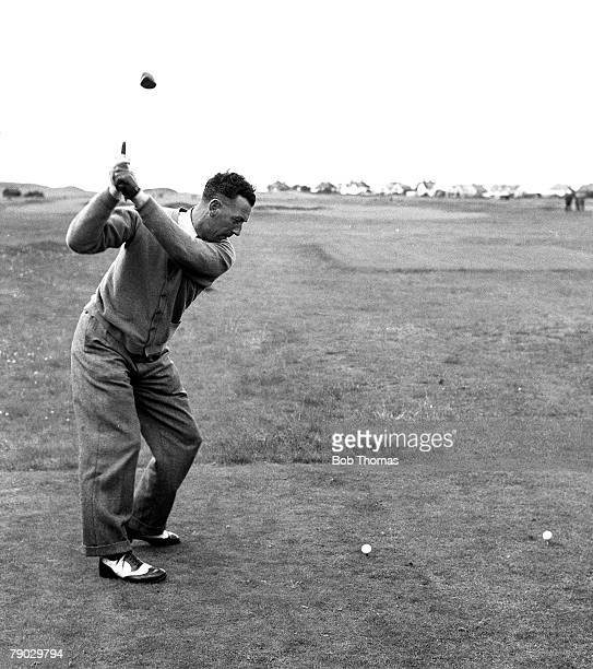 Golf 1951 Hoylake A picture of Alf Padgham of Great Britain playing a tee shot using a driver